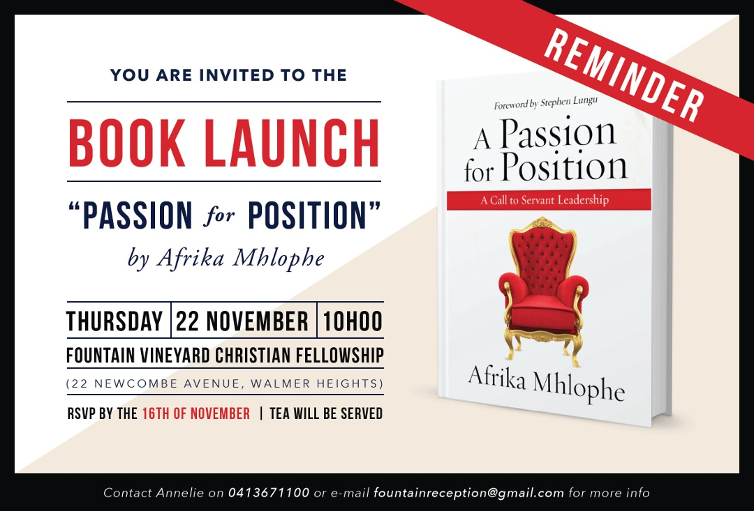 You are invited to the BOOK LAUNCH